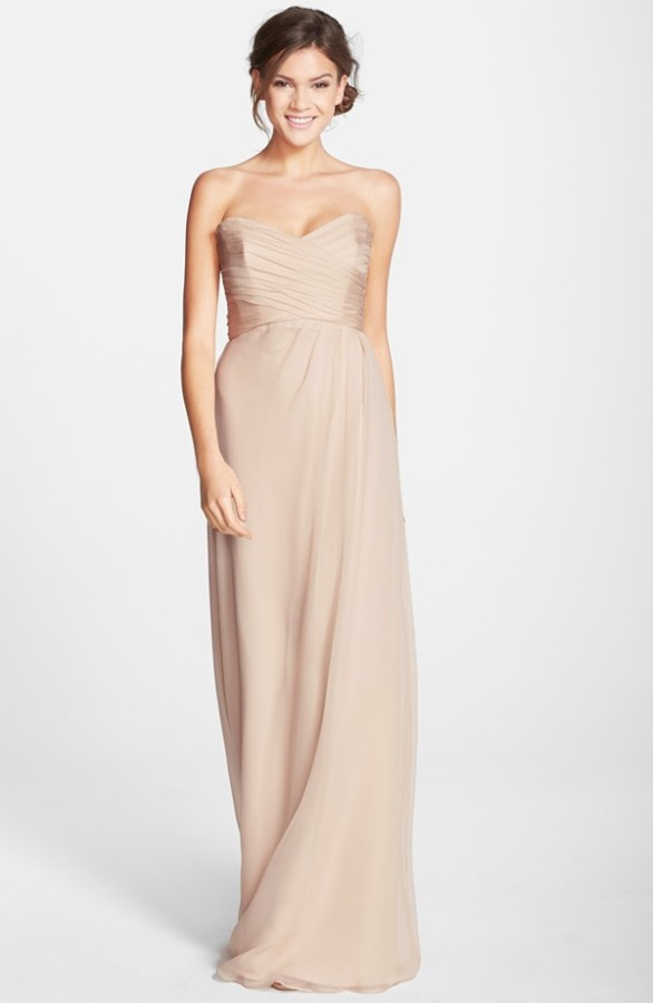 Amsale Strapless Crinkle Chiffon Gown - Elizabeth Anne Designs ...