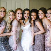 Bridesmaids in Blush and Silver