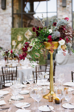Burgundy and Gold Centerpiece