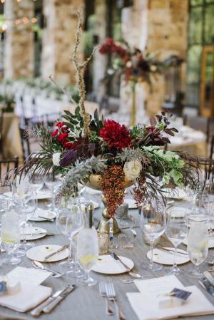 Burgundy and Gray Tabletop