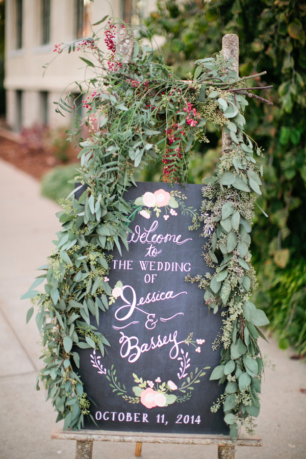 Chalkboard and Greenery Wedding Sign
