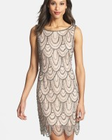 Embellished Mesh Cocktail Dress Rose