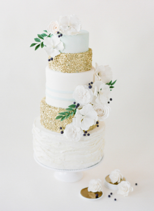 Gold Glitter and White Wedding Cake