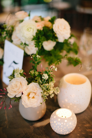 Ivory Flowers in White Vessels