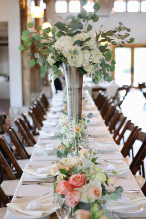 Ivory Green and Peach Centerpiece