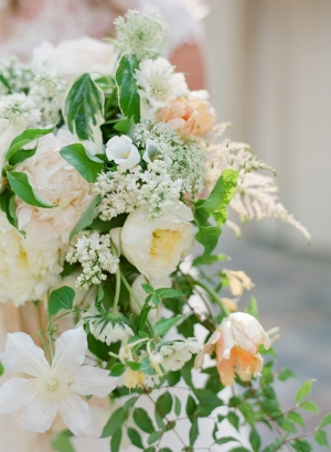 Ivory and Peach Cascade Bouquet