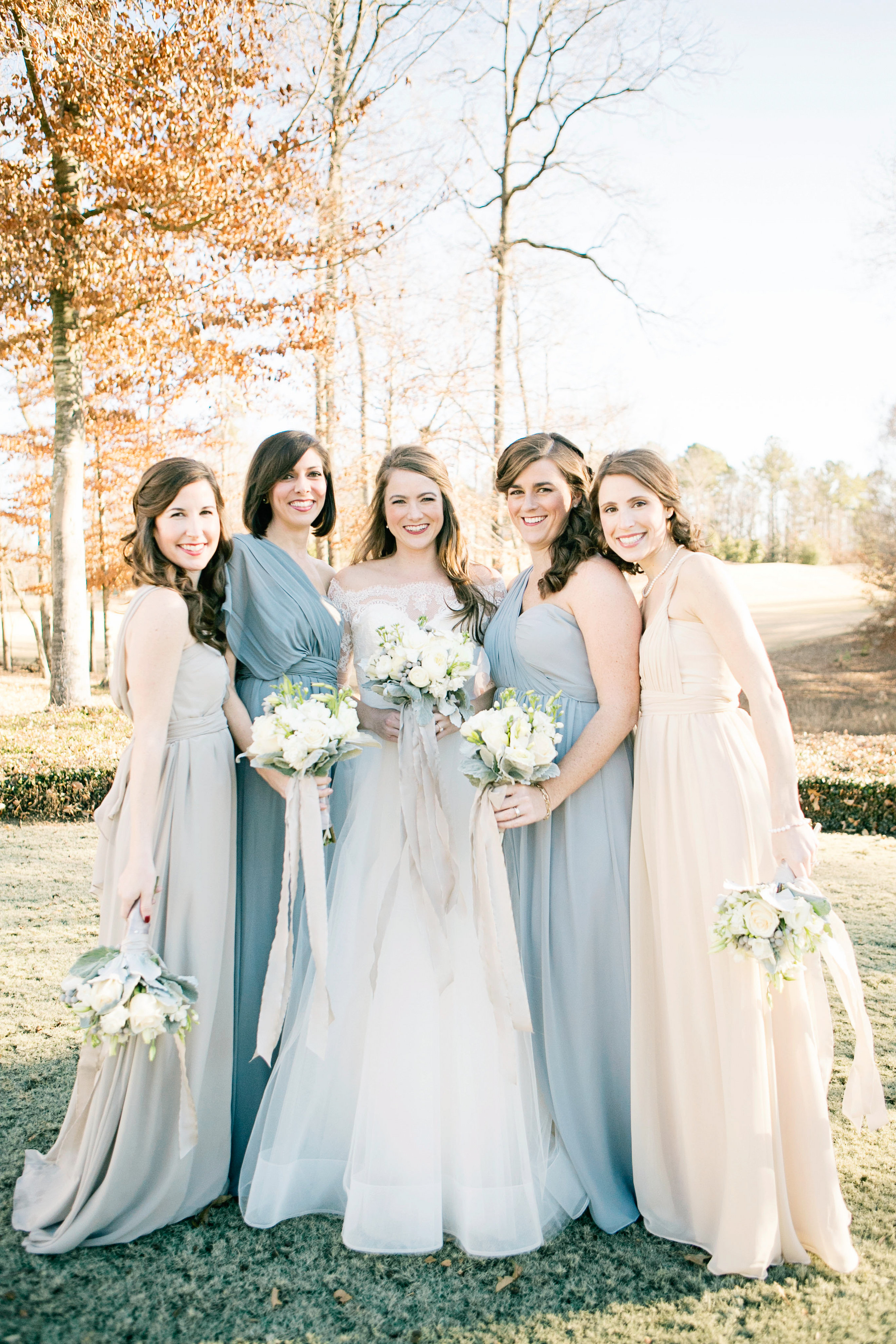 Pale Blue and Ivory Bridesmaids