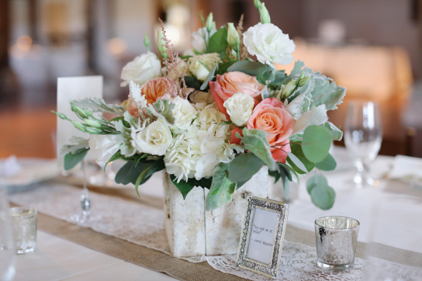 Peach and Green Centerpiece