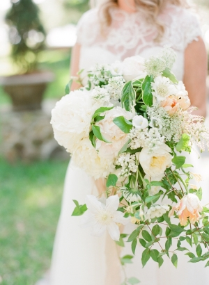 Peach and Ivory Cascade Bouquet