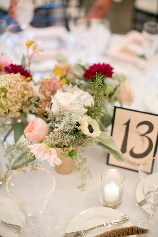 Peach and Red Centerpiece
