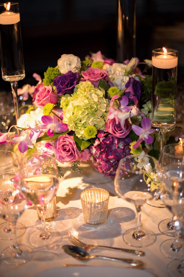 Purple and green wedding centerpiece elizabeth anne