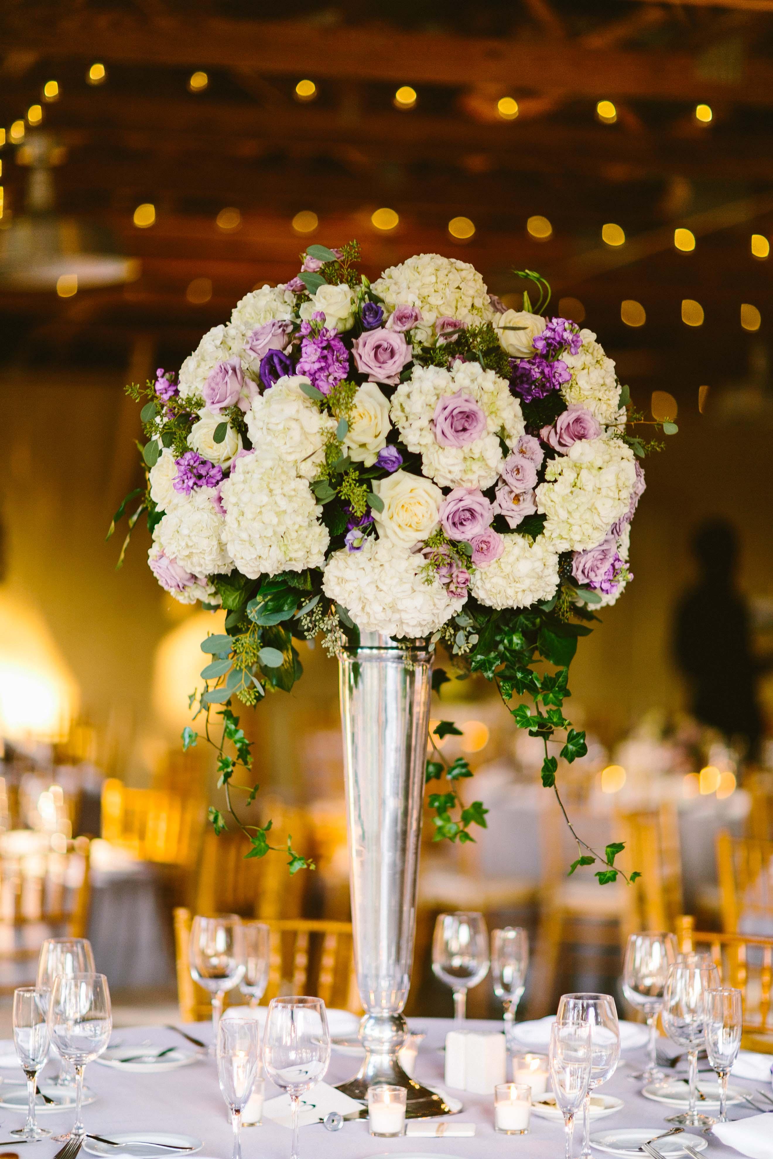 Purple And Ivory Wedding Centerpiece Elizabeth Anne