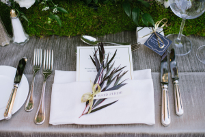 Silver and Green Place Setting