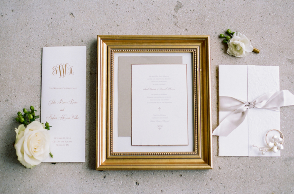 Simple White and Gold Wedding Invitations