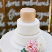 Simple White and Peach Wedding Cake