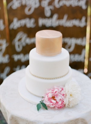 Simple White and Peach Wedding Cake