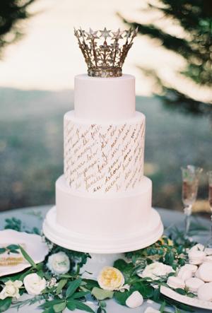 Wedding Cake with Calligraphy