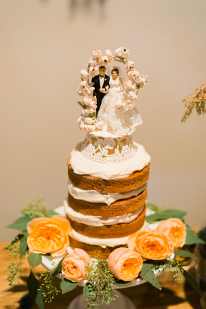 Wedding Cake with Vintage Topper