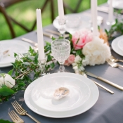 White and Gray Wedding China