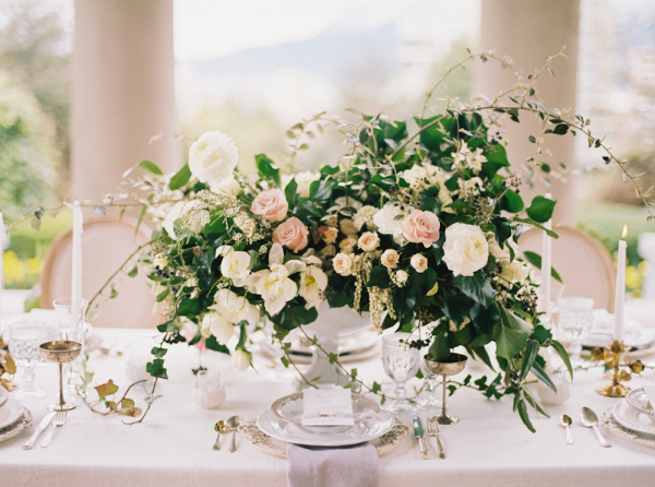 Blush and Ivory Centerpiece with Greenery