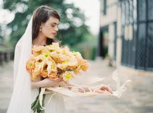 Bouquet with Peach Ribbon