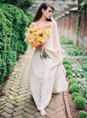 Bride with Apricot Bouquet