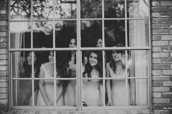 Bridesmaids in Window