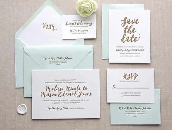 CHATHAMandCARON Malibu Letterpress Wedding Invitation