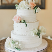 Cake with Pink and White Flowers