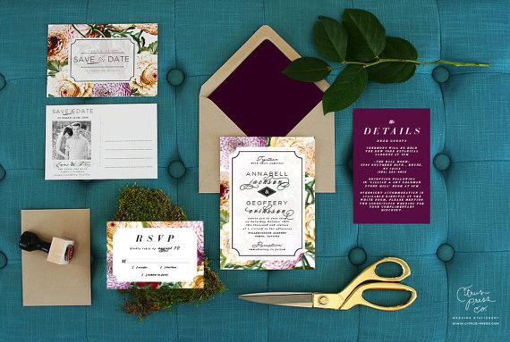 Citrus Press Co Purple Wedding Invitation in Dahlia