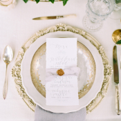Gold Pewter and Gray Place Setting