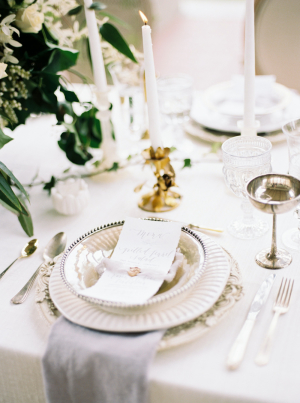Gray and Silver Wedding Place Setting