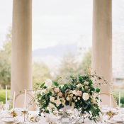 Greenery Centerpiece with Ivory Roses