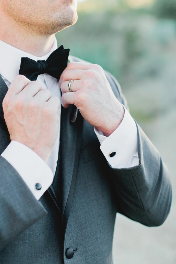 Groom in Black Bow Tie
