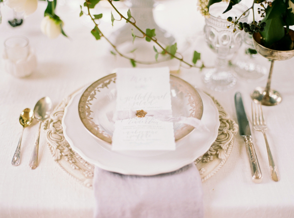 Ivory and Silver Place Setting