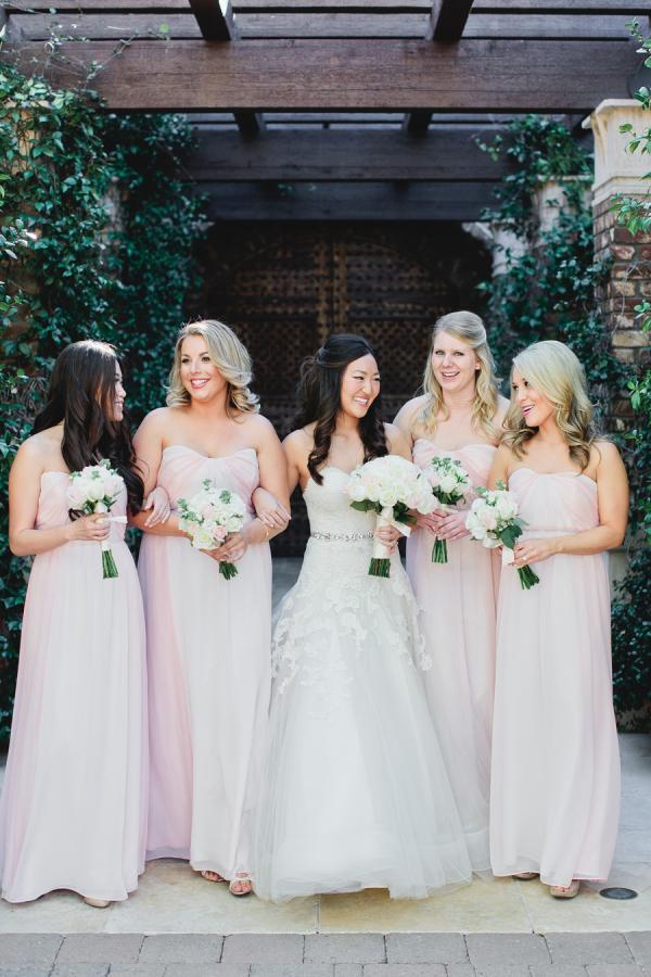 Pink Strapless Bridesmaids Dresses