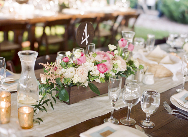 Pink and Blush Centerpiece in Wooden Box