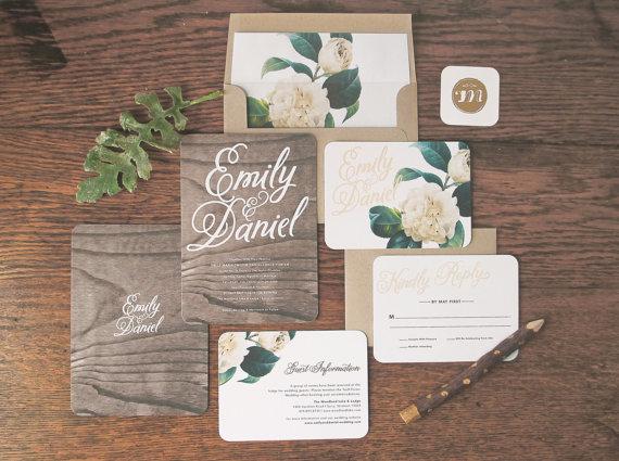 Rachel Marvin Creative Woodland Floral Wedding Invitation