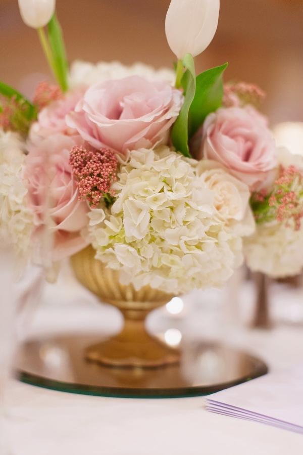 Rose tulip hydrangea centerpiece elizabeth anne designs