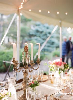 Taper Candles in Bronze Candelabra