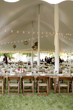 Tent Reception with String Lights