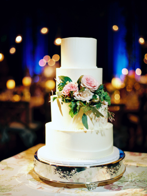 White Wedding Cake with Flower Detail