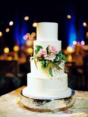 White Wedding Cake with Flower Detail