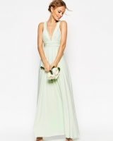ASOS WEDDING Ruched Double Strap Maxi Dress Mint