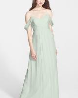 Amsale Crinkled Silk Chiffon Gown