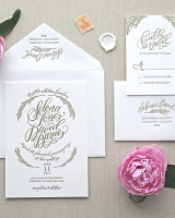 Bloom Letterpress Wedding Invitation