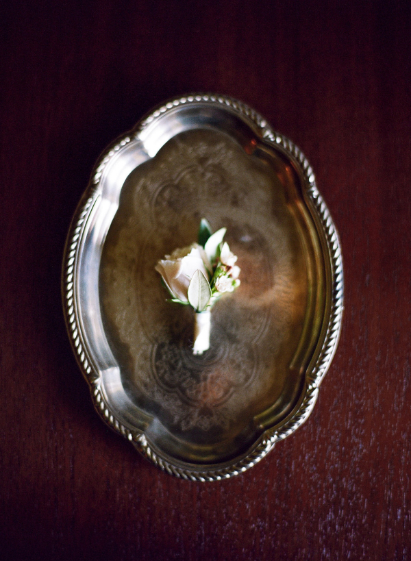 Boutonniere on Silver Tray