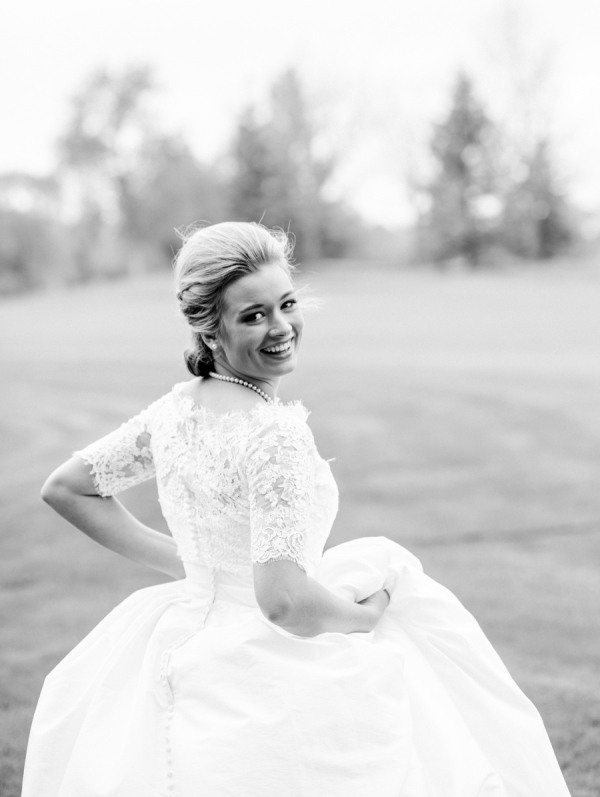 Bride in Dress with Sleeves