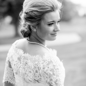 Bride in Gown with Lace Sleeves