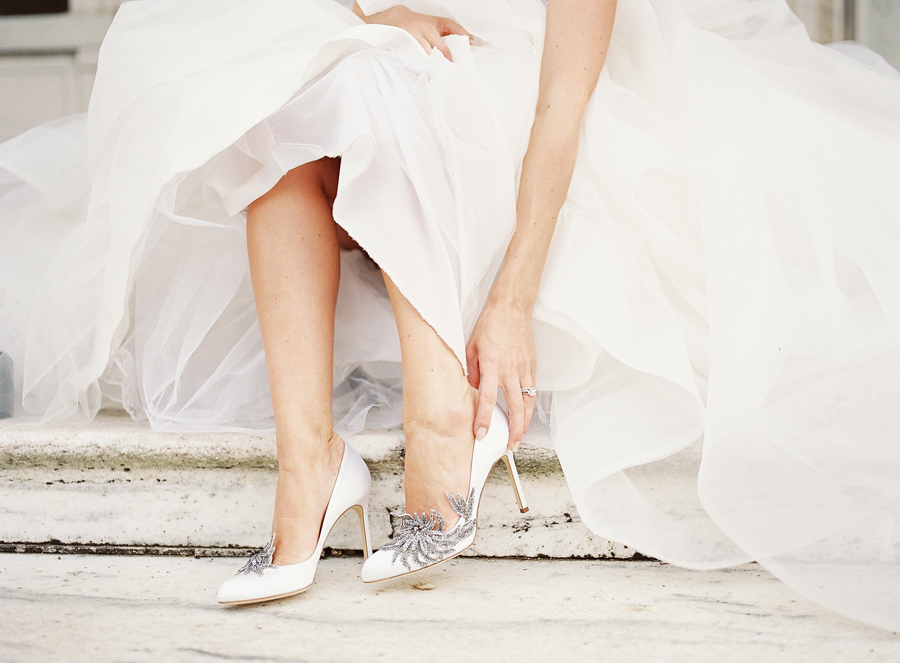 Bride in Manolo Blahnik Swan Elizabeth Anne Designs: The Wedding Blog